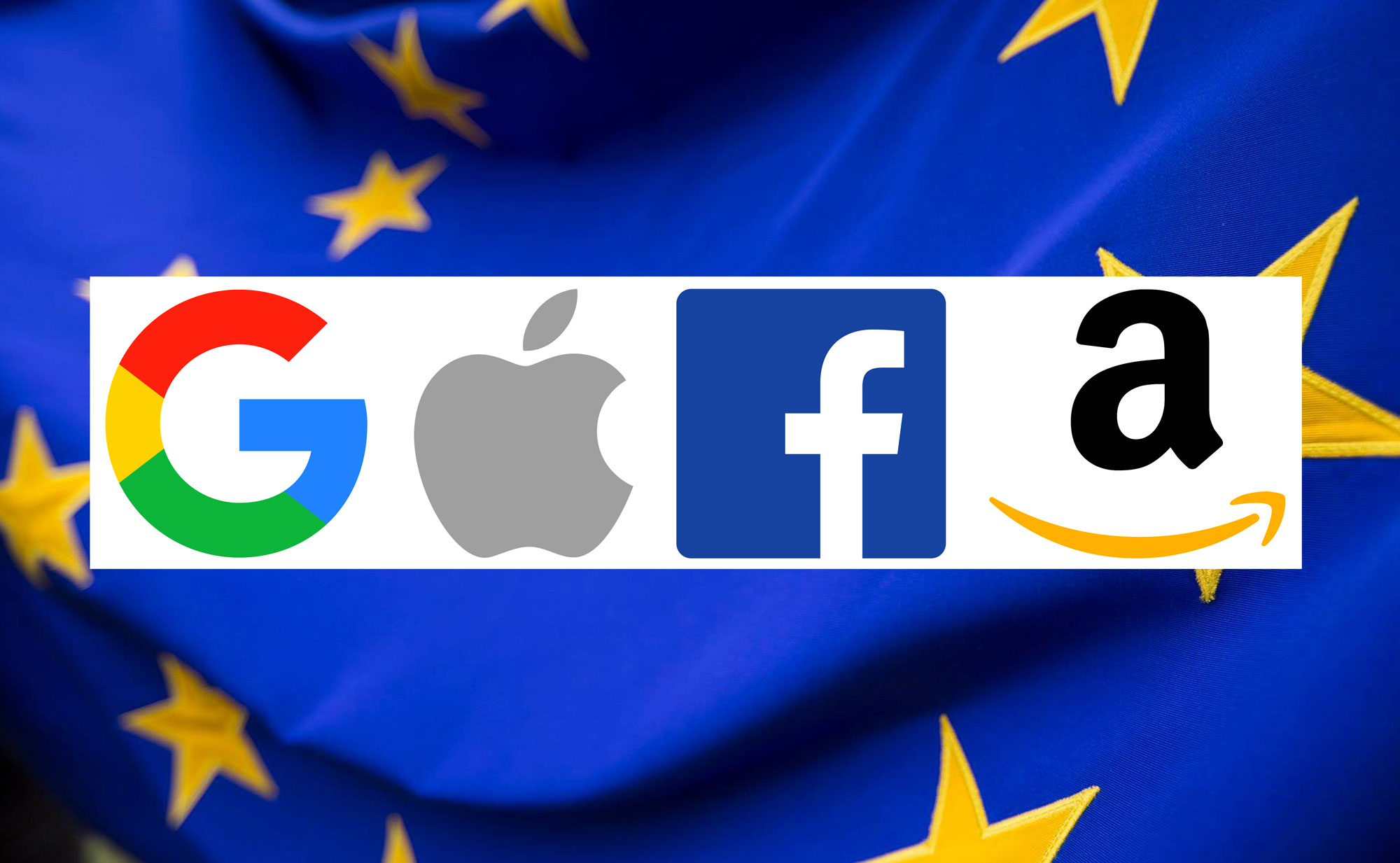 GAFA logos Google, Apple, Facebook, Amazon Europe