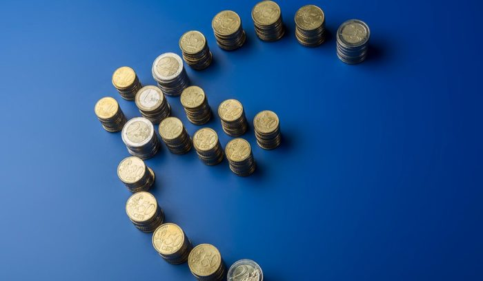 Economic and Monetary Union - the euro symbol formed from coins