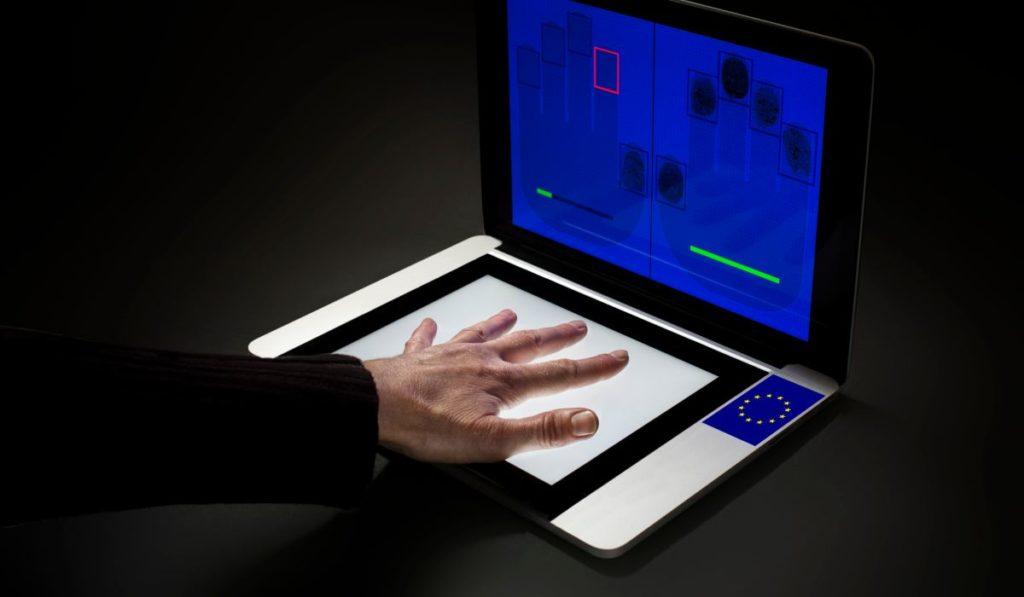 The taking of fingerprints for biometric documents
