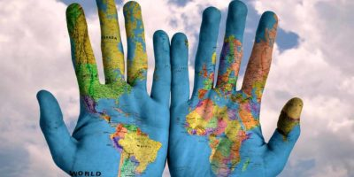 hands map Global-warming climate change