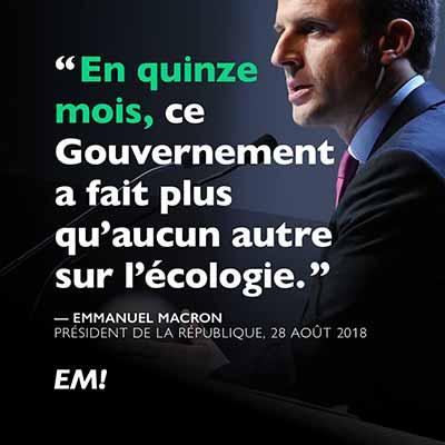 Emmanuel Macron La République en Marche (LREM) ecology