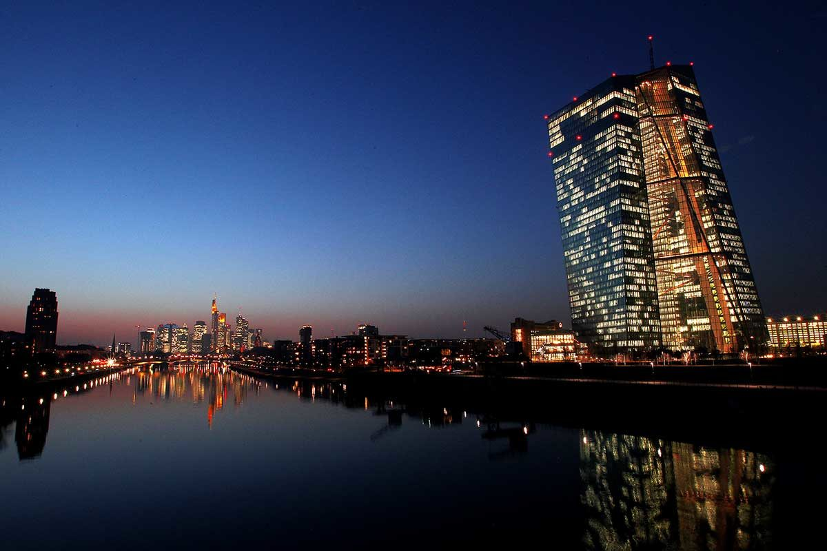 The European Central Bank by night ECB