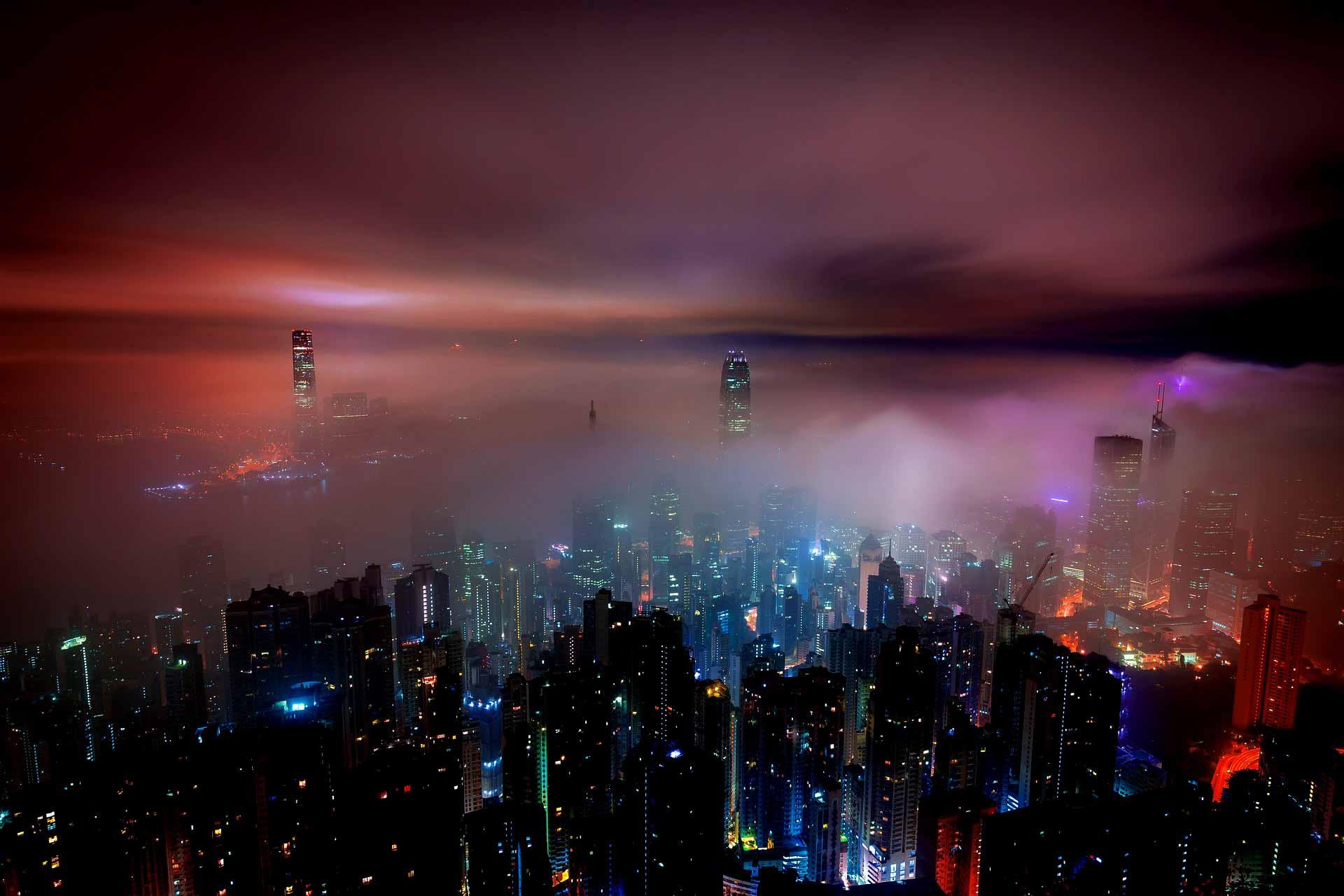 Hong Kong clouds by night