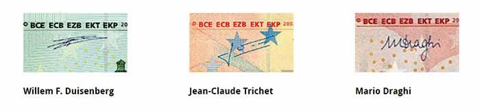 euro banknote signatures
