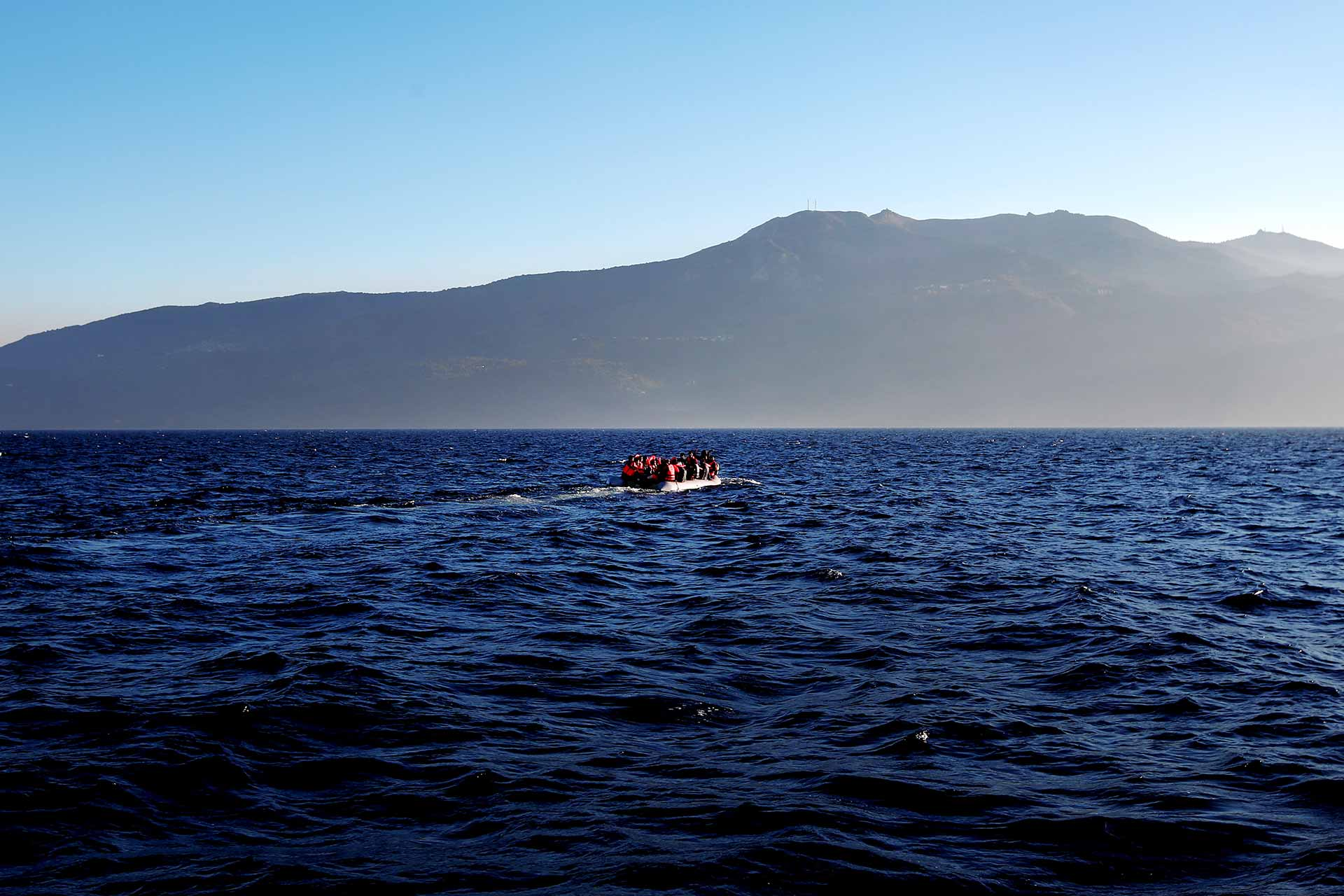 Boat of migrants crossing the Aegean Sea from Turkey to Greece