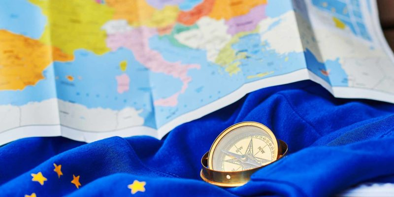 Tourism in EU - European flag and a map of Europe