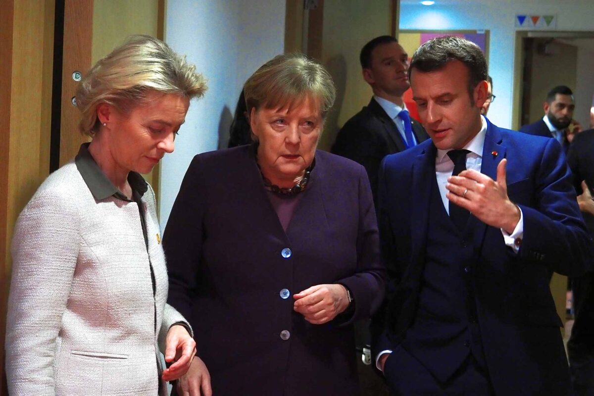 Ms Ursula von der Leyen, President of the European Commission, Ms Angela Merkel, German Federal Chancellor, Mr Emmanuel Macron, President of France
