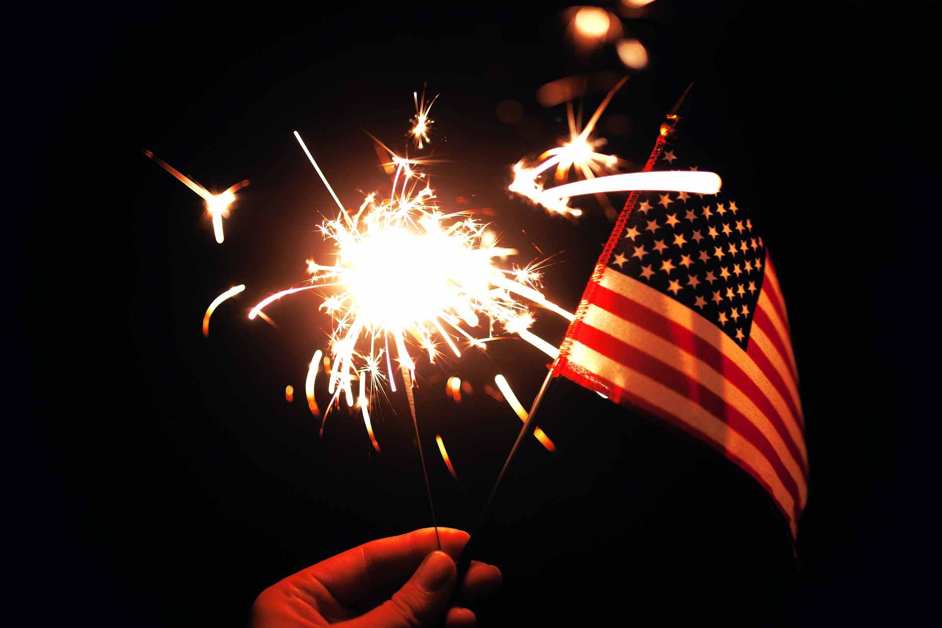 sparkler USA flag