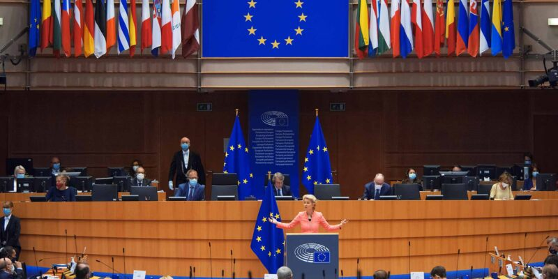 Ursula von der Leyen President of the European Commission in European Parliament in Brussels