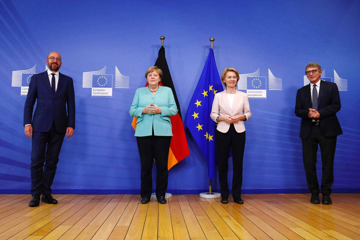 Council President Michel, Chancellor Merkel, Commissioner von der Leyen and Parliament President Sassoli:
