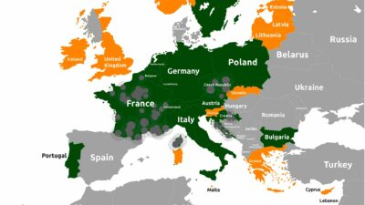 EU COVID19 colour code of Europe / EU coloured map