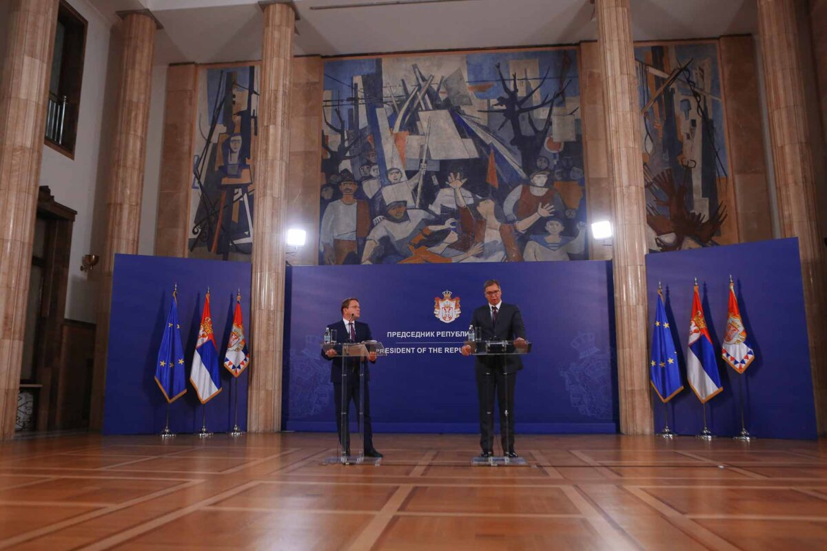 Aleksandar Vucic, Serbian President, on the right, and Oliver Varhelyi during their joint press conference.
