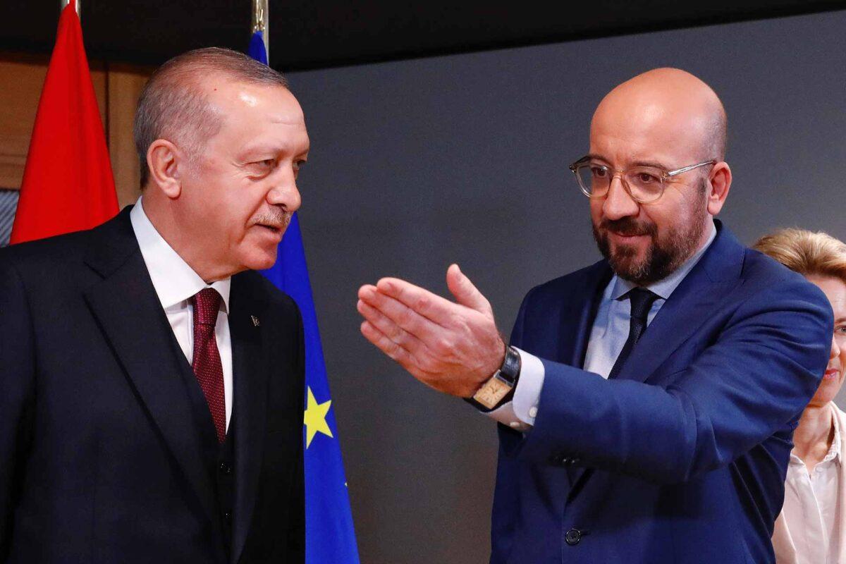 Mr Recep Tayyip Erdogan, Turkish President with Mr Charles Michel, President of the European Council
