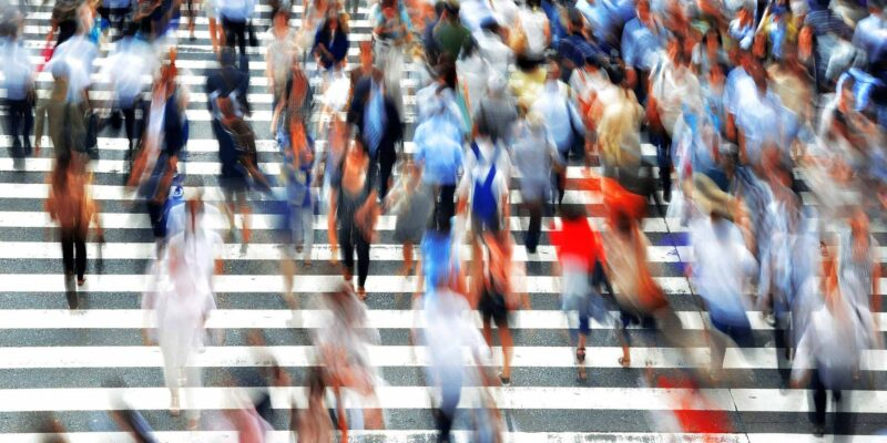 Pedestrians People walking on the Street