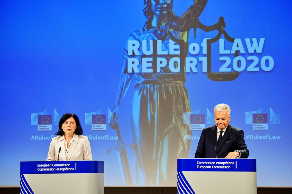 Věra Jourová, on the left, and Didier Reynders