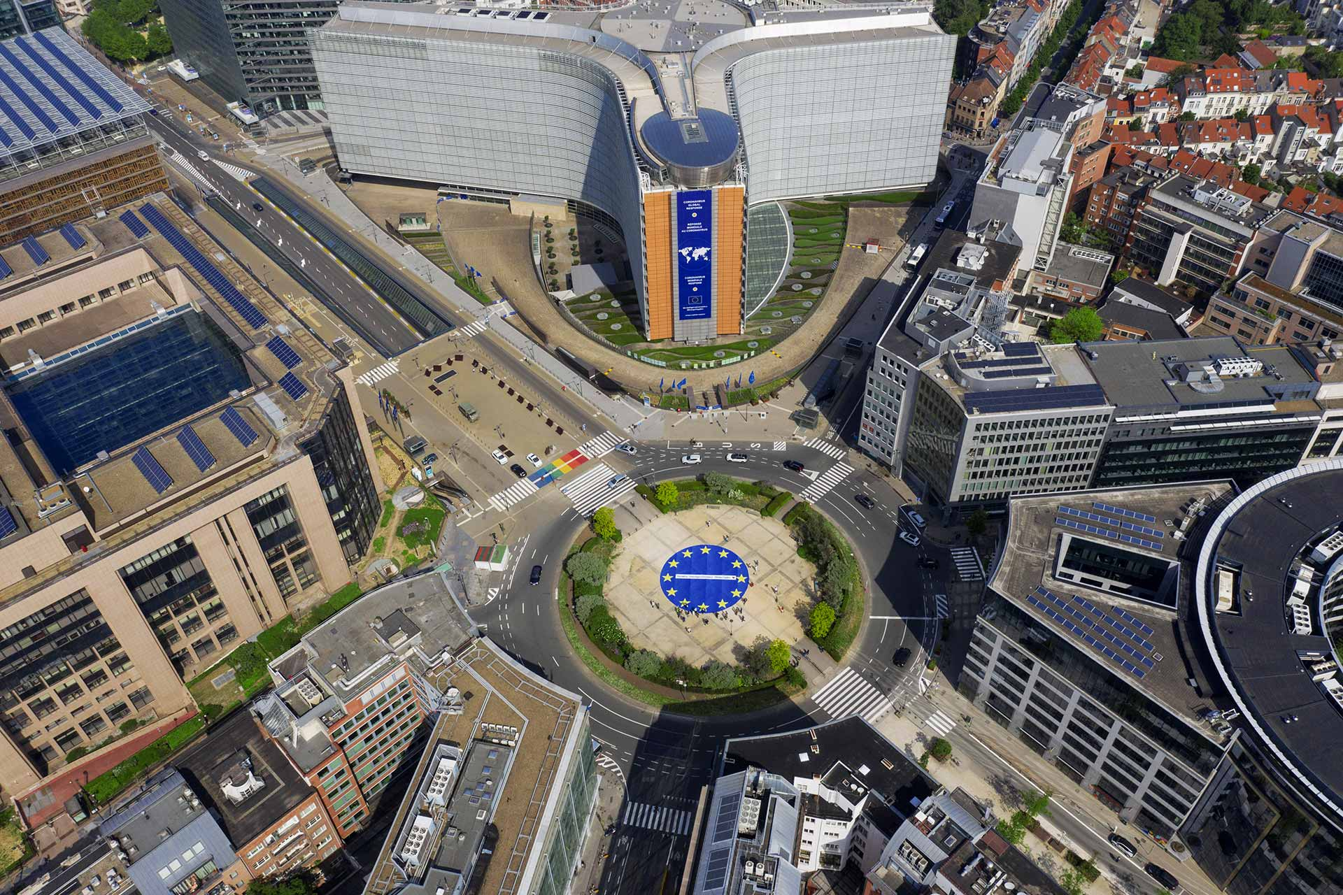 Aerial view of Rond-Point Schuman and the Berlaymont building