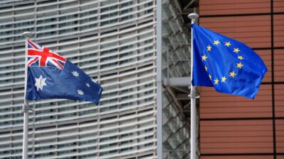 Australian and European flags in front of Berlaymont