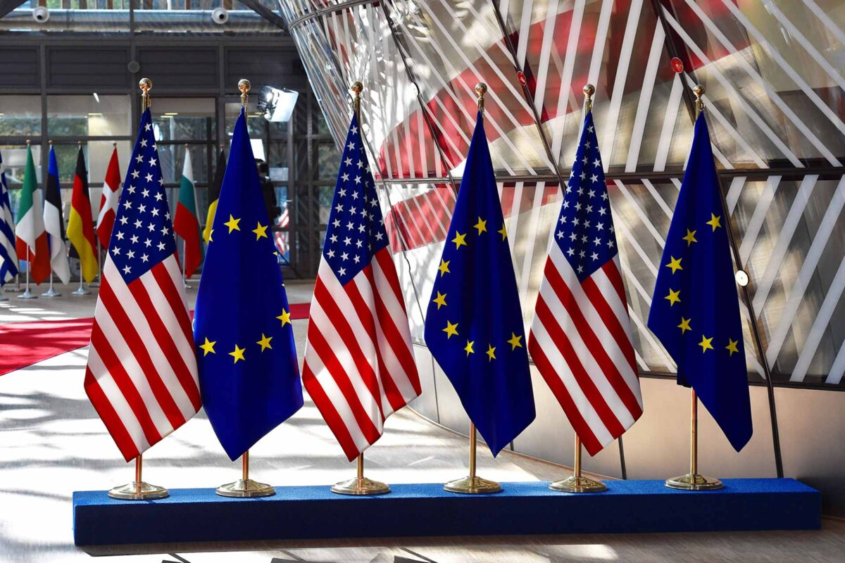EU USA flags at the EUropean Council in Brussels