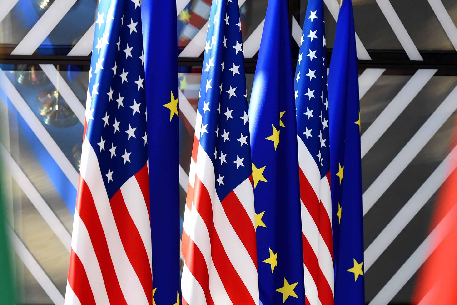 EU USA flags at the EUropean Council