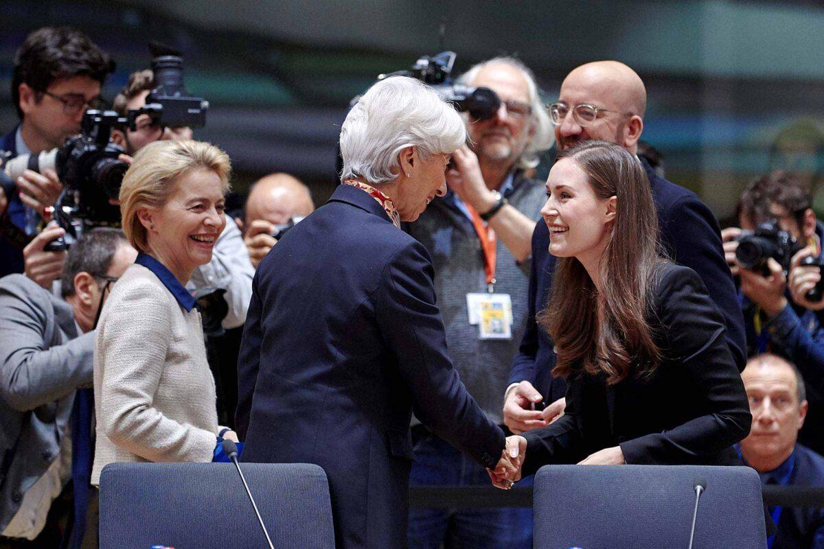 Christine Lagarde, Ursula von der Leyen and Sanna Marin