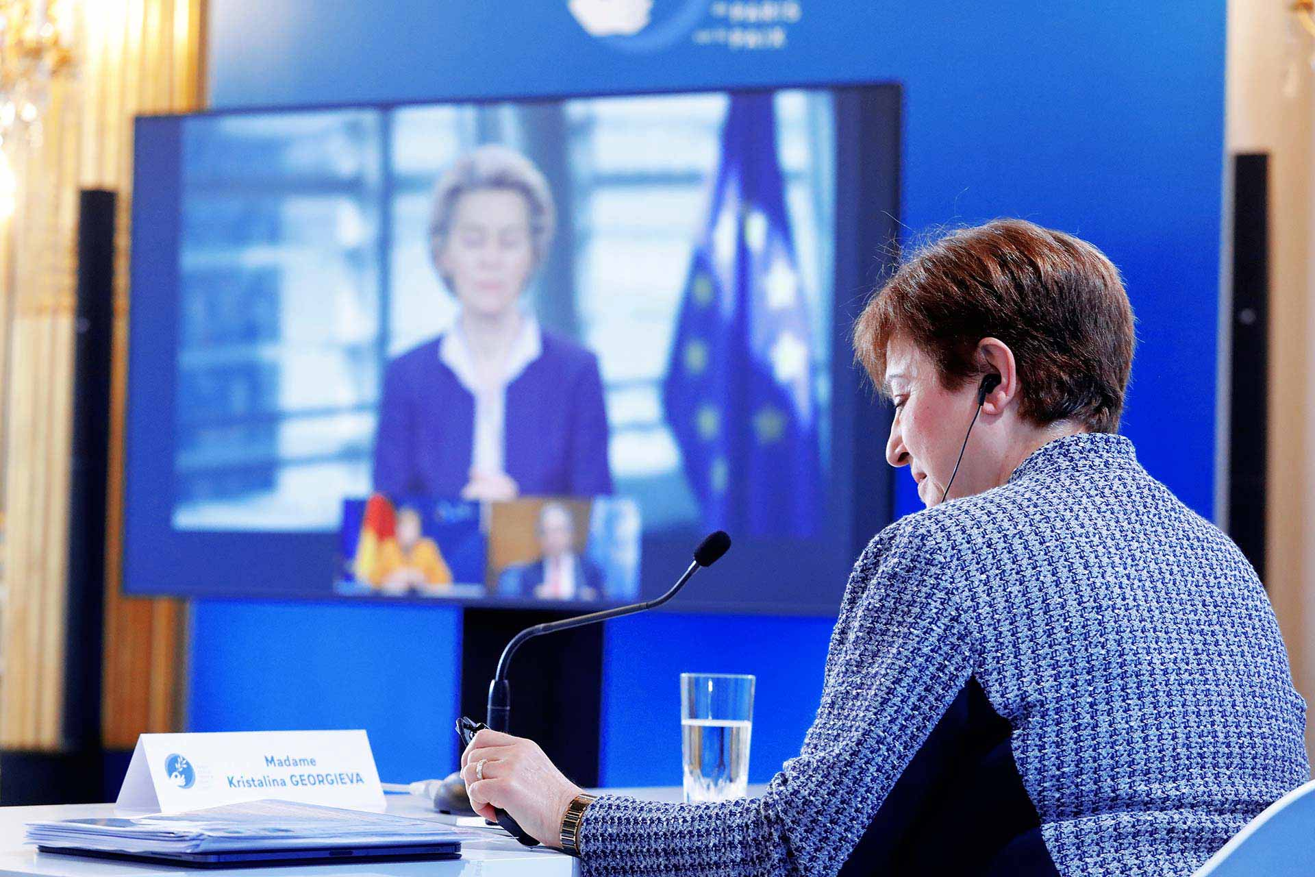 Ms Ursula VON DER LEYEN, President of the European Commission; Ms Kristalina GEORGIEVA, Managing Director of the IMF