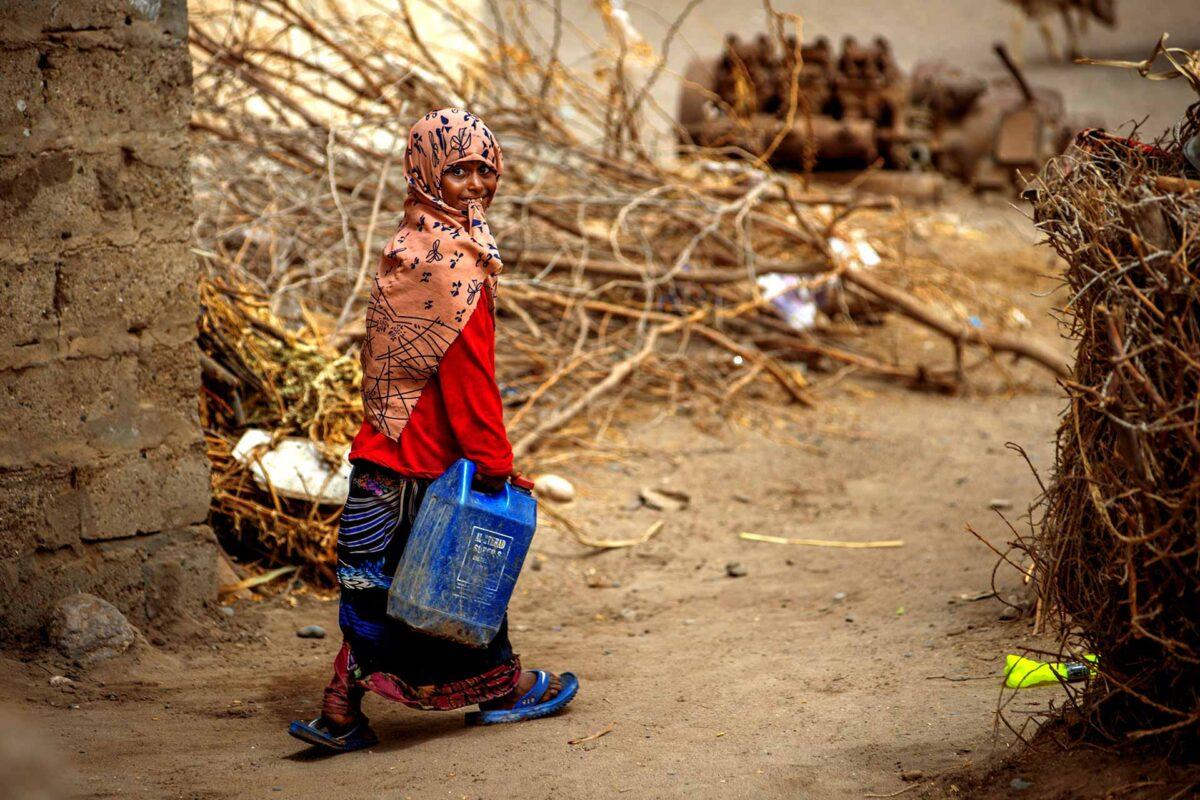 A girl in a war-affected village on Yemen's western coast
