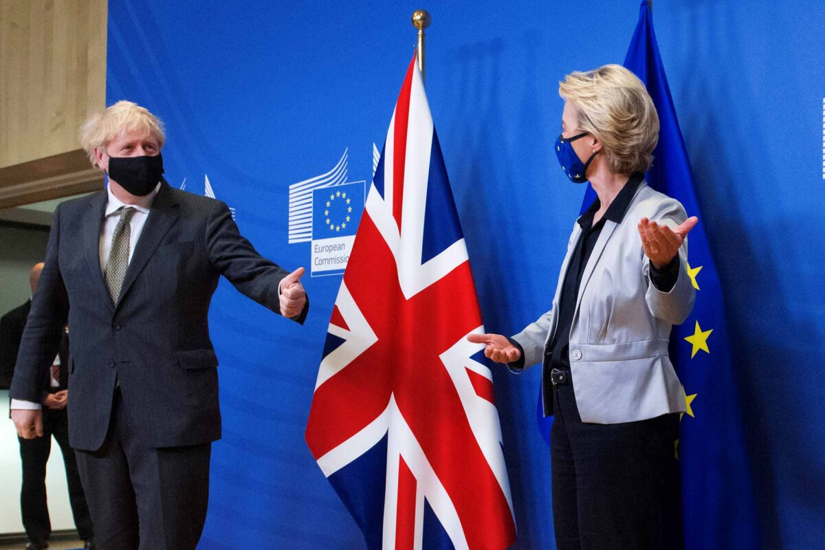 Boris Johnson, on the left, and Ursula von der Leyen