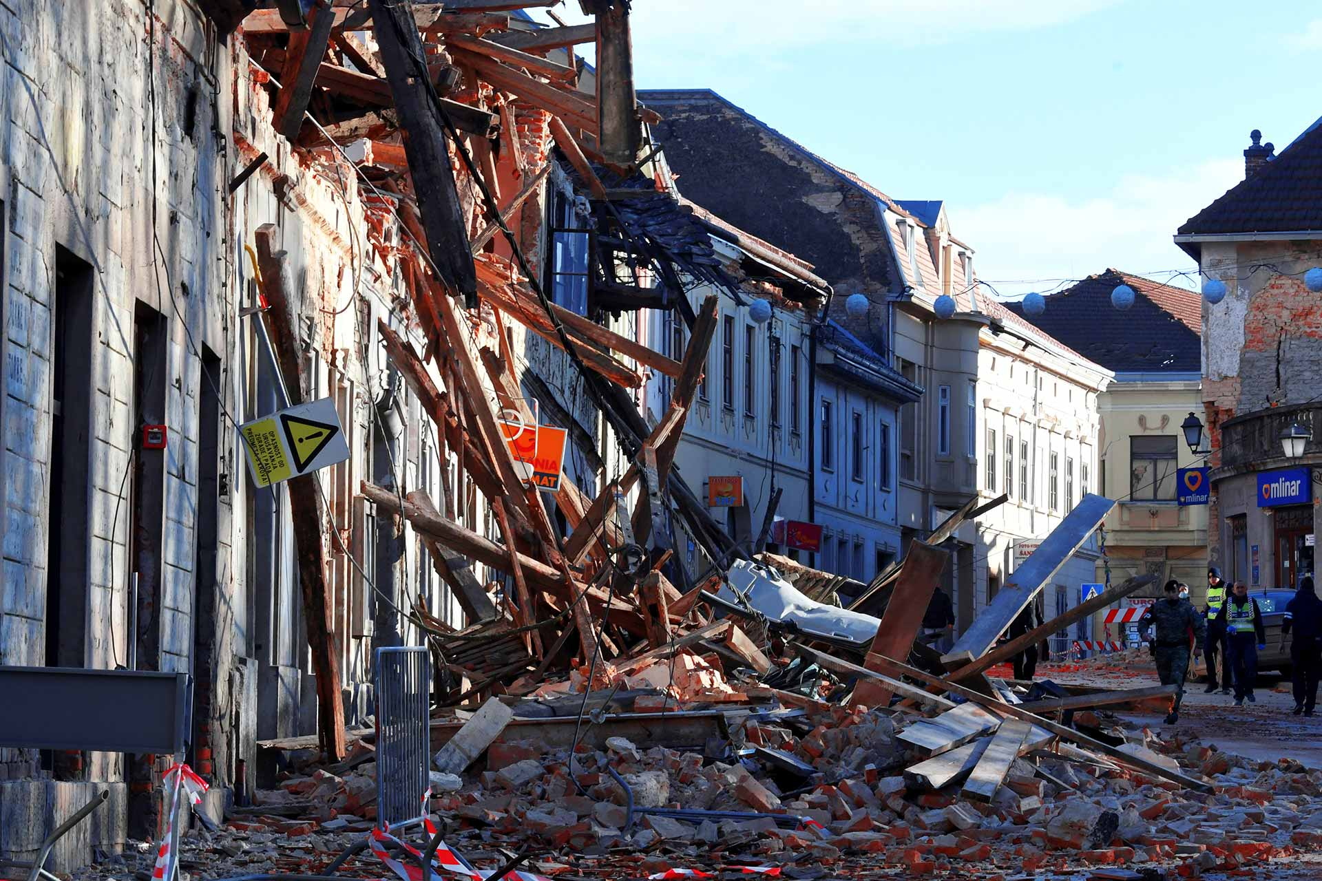 Destroyed houses in Petrinja, some 50kms from Zagreb, after the town was hit by an earthquake of the magnitude of 6,4 on December 29, 2020