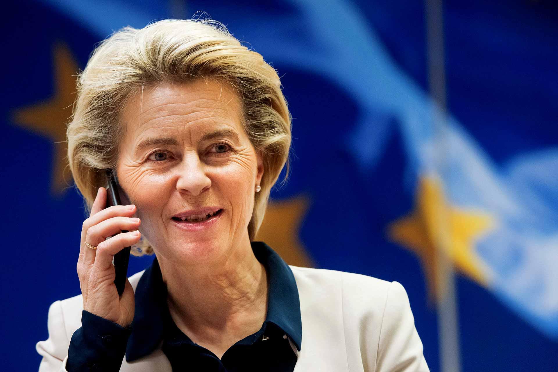Ursula von der Leyen on the phone