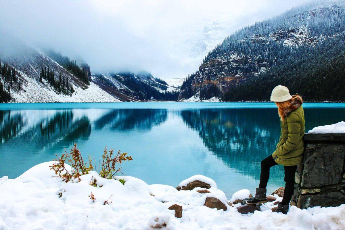 blonde traveller travel tourism landscape mountains