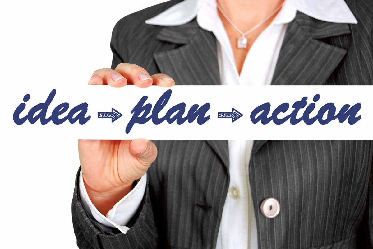 business woman idea-plan-action