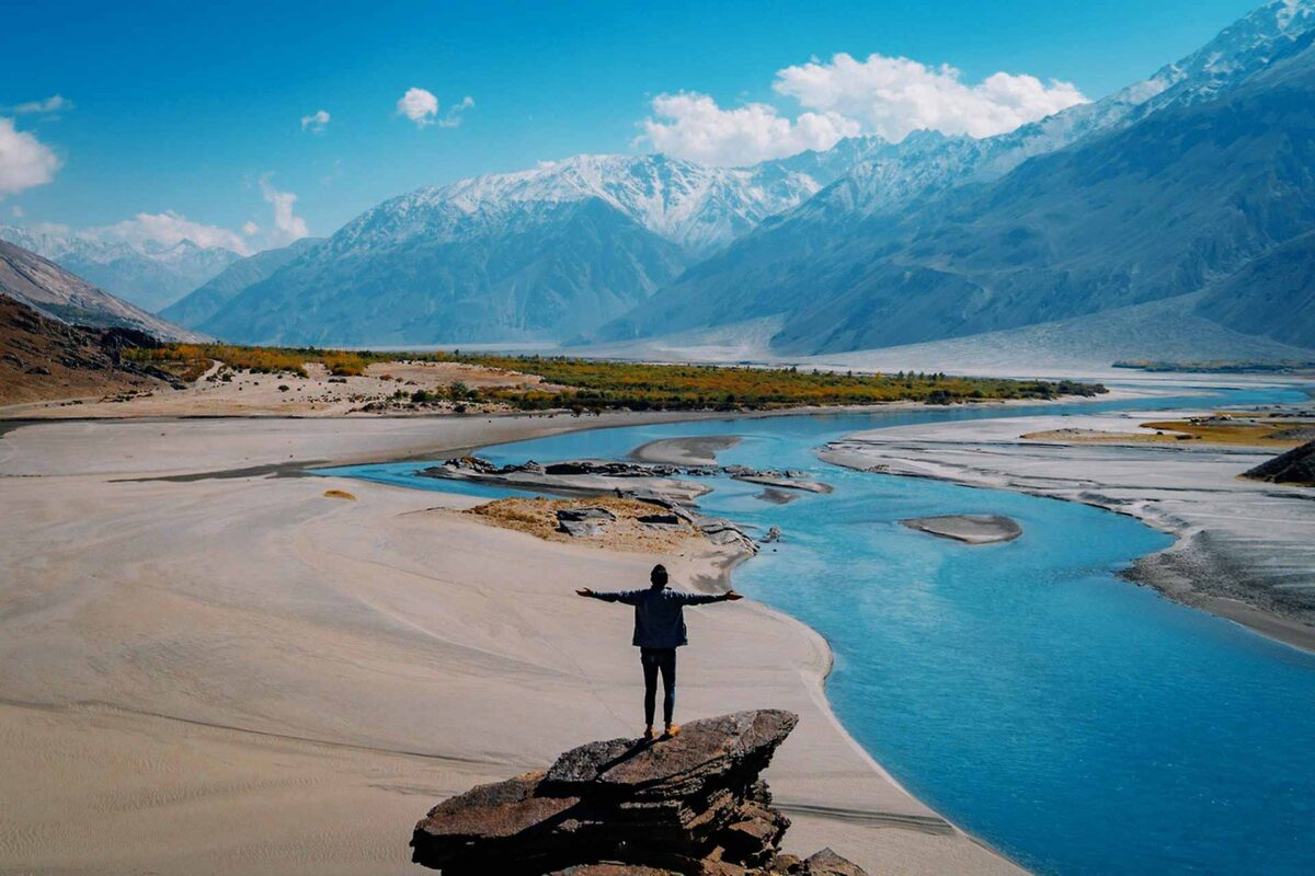 landscape mountains traveller travel tourism
