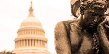 Capitol building USA Washington DC man-statue