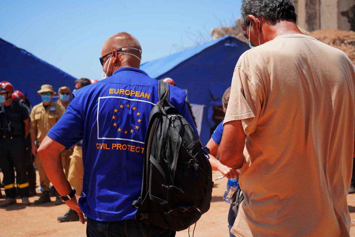An EU Civil Protection team member