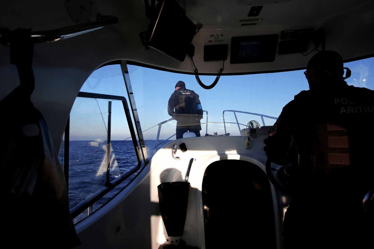 Frontex agency, during on a patrol on board in Greek island of Lesbos
