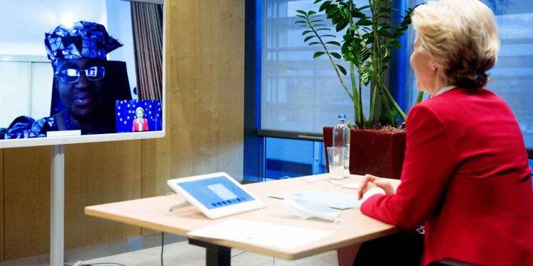 Videoconference between Ngozi Okonjo-Iweala, Chair of the Board of Gavi, Special Envoy for the World Health Organization (WHO) Access to COVID-19 Tools (ACT) Accelerator, and Ursula von der Leyen, President of the European Commission