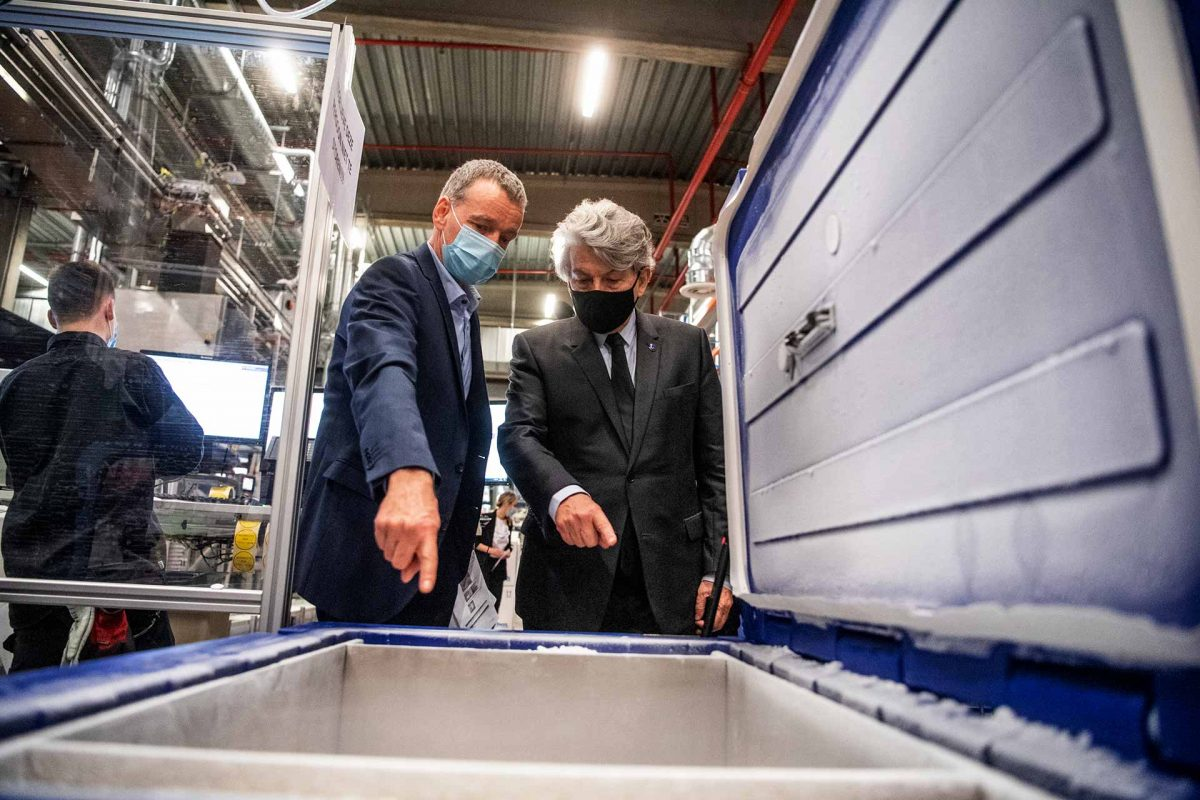 Thierry Breton, European Commissioner for Internal Market, visited the Pfizer factory in Puurs, Belgium