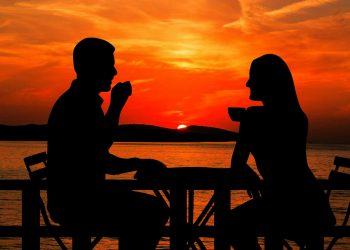 sunset-Summer holidays couple coffee
